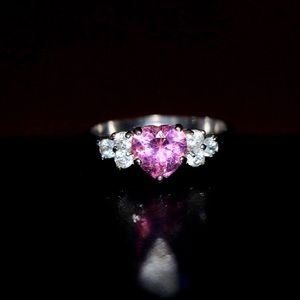 925 Sterling Silver Pink CZ Ring
